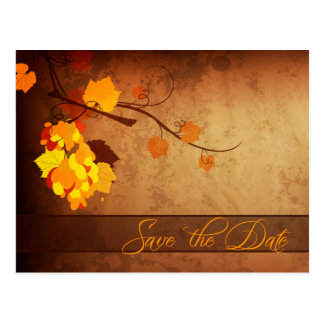 Fall leaves vintage distressed save the date postcard