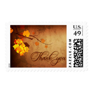 Fall leaves vintage distressed thank you wedding postage