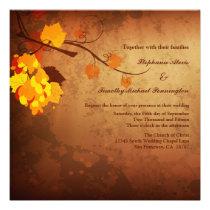 Fall leaves vintage distressed wedding invitation