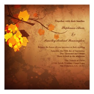 Fall leaves vintage distressed wedding invitation