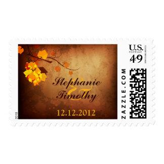 Fall leaves vintage distressed wedding stamps
