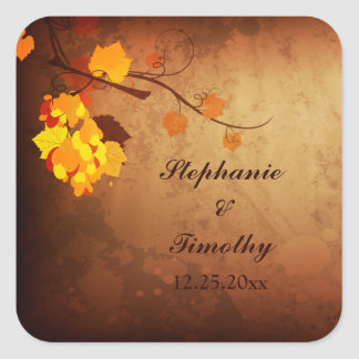 Fall leaves vintage distressed wedding stickers