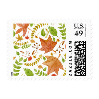 Fall leaves watercolor autumn postage stamp