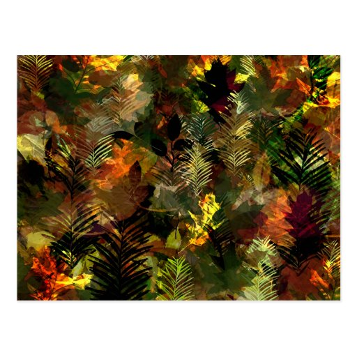Fall Leaves Watercolour Postcard
