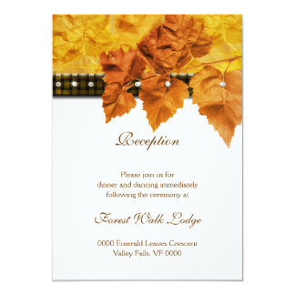Fall leaves weave diamond RECEPTION Custom Announcements