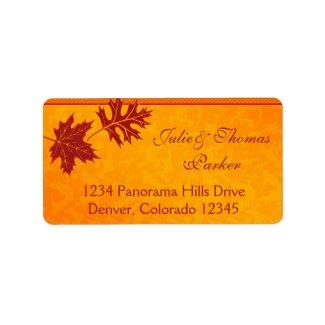 Fall Leaves Wedding Address Labels label