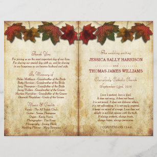 bi fold wedding programs zazzle