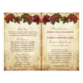 Fall Leaves Wedding Bi Fold Program Template Flyer