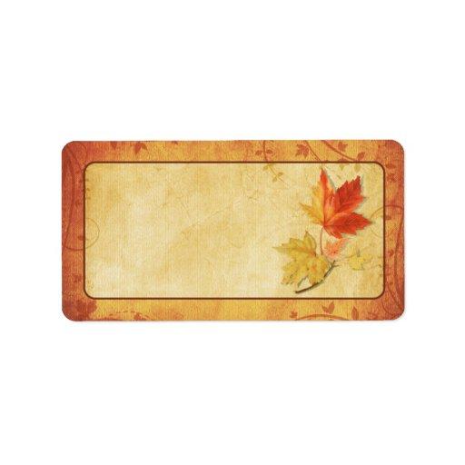 Fall Leaves Wedding Blank Address Labels