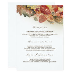 Fall Leaves Wedding Information Guest Card at Zazzle