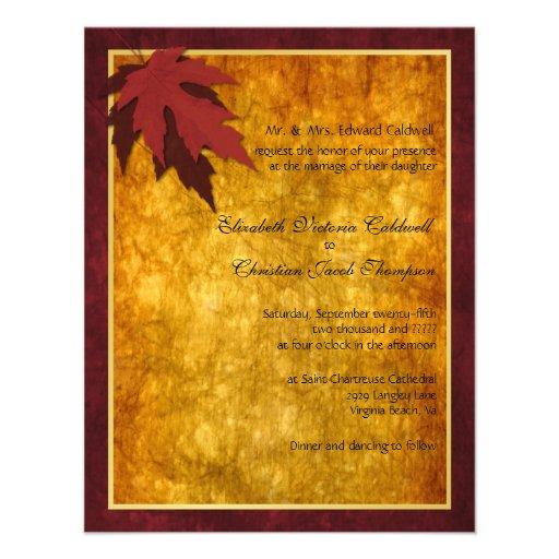 Fall Leaves Wedding Invitation 425 X 55 Invitation Card