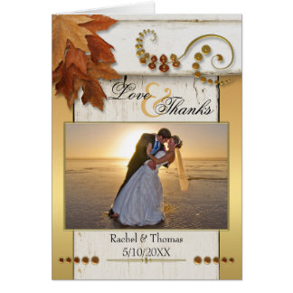 Fall Leaves Wedding Photo Thank You Note Card