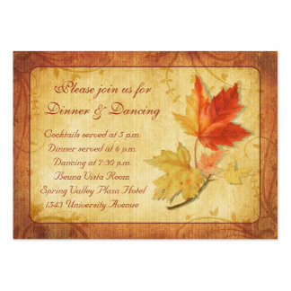 Fall Leaves Wedding Reception Card Large Business Card