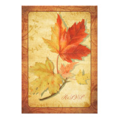 Fall Leaves Wedding Reply Card (RSVP Card) Personalized Announcement