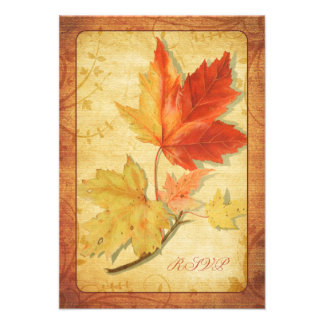 Fall Leaves Wedding Reply Card RSVP Card Personalized Announcement
