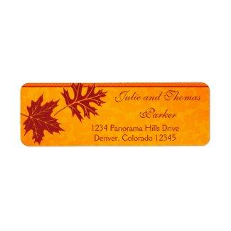 Fall Leaves Wedding Return Address Labels label
