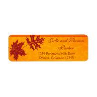 Fall Leaves Wedding Return Address Labels