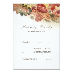 Fall Leaves Wedding Rsvp Card at Zazzle