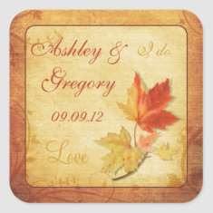 Fall Leaves Wedding Sticker or Envelope Seal