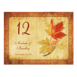 Fall Leaves Wedding Table Number Card
