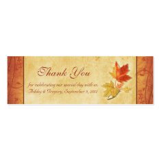 Fall Leaves Wedding Thank You Favor Tags Business Card Templates
