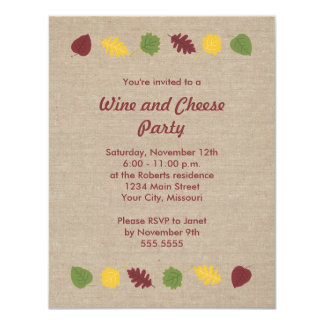 Fall Leaves Wine and Cheese Party Invitations