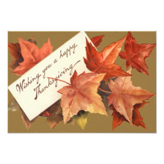 Fall Leaves Wishing You A Happy Thanksgiving Photo Print