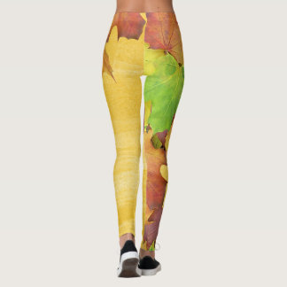 Fall Leaves with Golden Yellow Harvest Hues Leggings