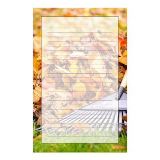 Fall Leaves With Rake Personalized Stationery