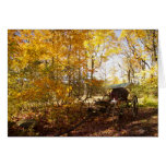 Fall Leaves with wagon Greeting Cards