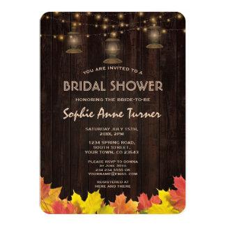 Fall Leaves Wood Old Lanterns Bridal Shower Card