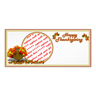 Fall Leaves & Worried Turkey   Photo Frame Custom Rack Cards