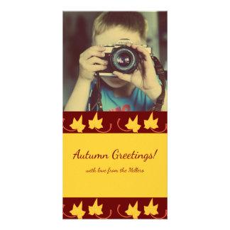Fall Leaves: Yellow-Leaf, Customized Photocard Card