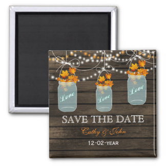 fall leavesin a mason jar save the Date 2 Inch Square Magnet