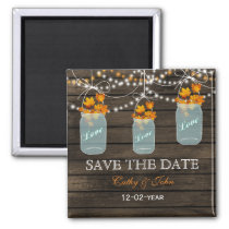 fall leavesin a mason jar save the Date Magnet