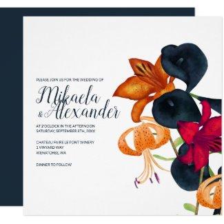 Fall Lilies, Square Wedding Invitation