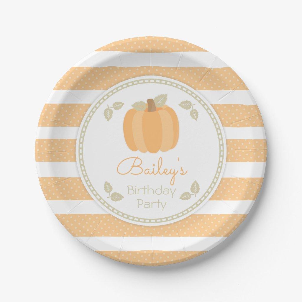 Fall Little Pumpkin Birthday Party Paper Plate