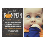 Fall Little Pumpkin Photo 1st Birthday Party Card at Zazzle