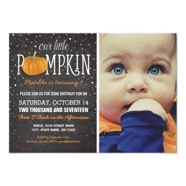 birthday Fall Little Pumpkin Photo 1st Birthday Party Card