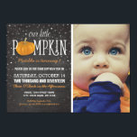 """Fall Little Pumpkin Photo 1st Birthday Party Invitation<br><div class=""""desc"""">Simple fall themed birthday invitation featuring a photo of your child,  a rustic chalkboard background,  a scattering of twinkling stars,  the words &quot;our little pumpkin&quot; and the party details in orange &amp; white.</div>"""