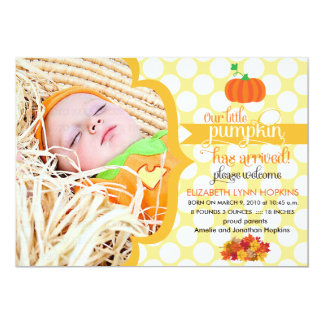 Fall Little Pumpkin Photo Birth Announcement