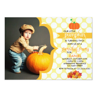 Fall Little Pumpkin Photo Birthday Party Card