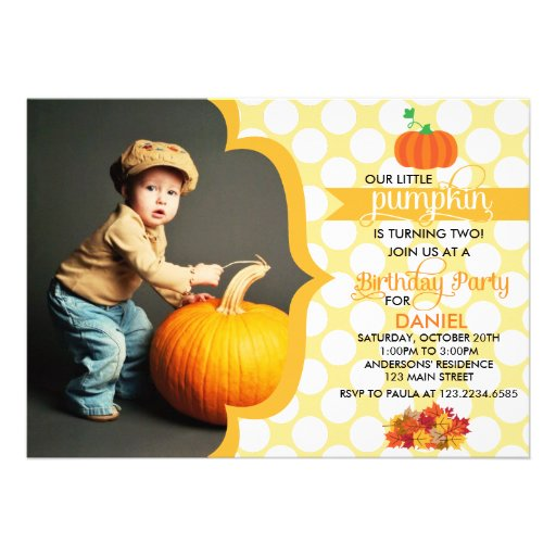 Fall Little Pumpkin Photo Birthday Party Cards