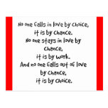 FALL LOVE CHOICE CHANCE STAYS WORK FALLS OUT LOVE POSTCARD