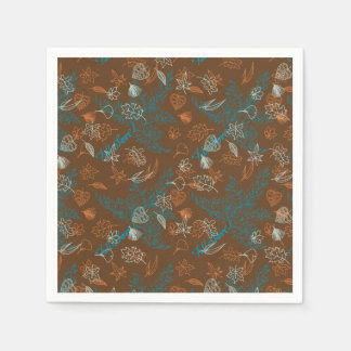 Fall Love Leaves ZenDoodle Pattern Art Paper Napkin