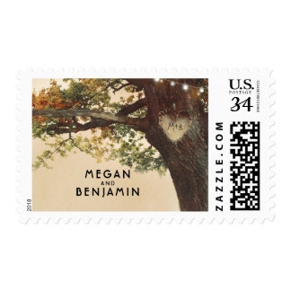 Fall Love Tree Rustic Country Wedding Postage