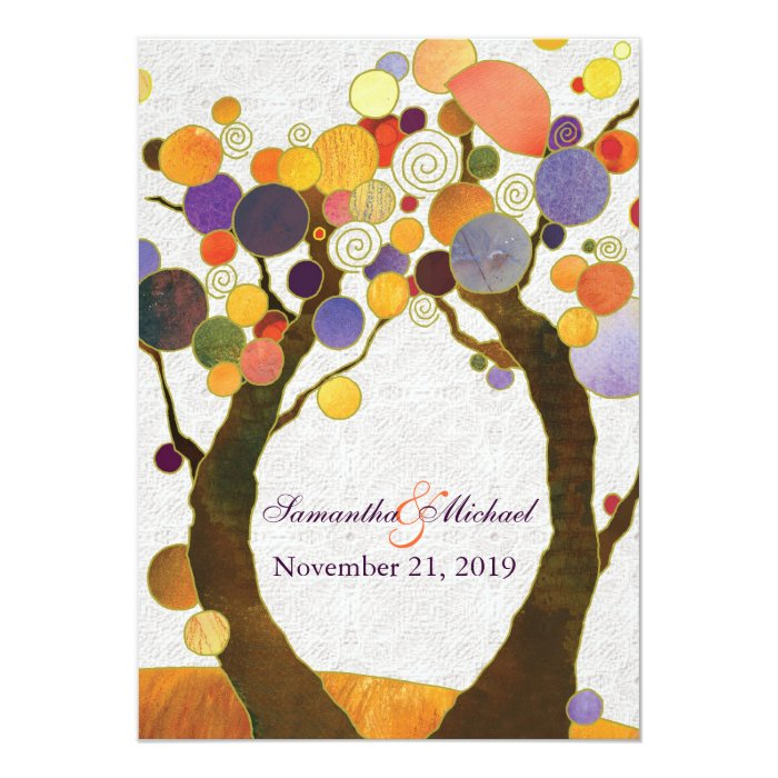 Fall Love Trees Modern Wedding Card