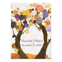"Fall Love Trees Modern Wedding Invitations 5"" X 7"" Invitation Card"