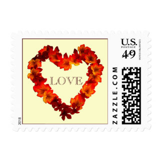 Fall Love Wedding Autumn Heart Wreath Rustic Postage Stamp