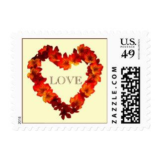Fall Love Wedding Autumn Heart Wreath Rustic Postage Stamp